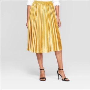 A. New. Day. Mustard Pleated Velvet Midi Skirt 💛